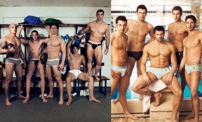 Campanhas Dolce & Gabanna: à esquerda os jogadores italianos de rugby e ao lado nadadores italianos